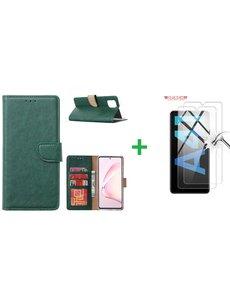 Ntech Samsung Galaxy A41 Boek hoesje + 2X Screenprotector '¬€œ Groen
