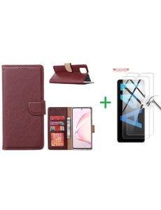 Ntech Samsung Galaxy A41 Boek hoesje + 2X Screenprotector  Bordeaux