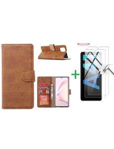 Ntech Samsung Galaxy A41 Boek hoesje + 2X Screenprotector  Bruin