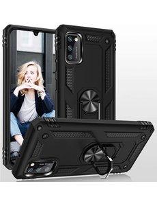 Ntech Samsung Galaxy A41 Ring Armor Hoesje - Zwart