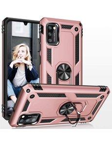 Ntech Samsung Galaxy A41 Ring Armor Hoesje - Rose Goud