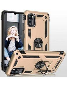 Ntech Samsung Galaxy A41 Ring Armor Hoesje - Goud