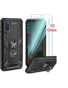 Ntech Samsung Galaxy A41 Ring Armor hoesje + 2x Screenprotector - Zwart