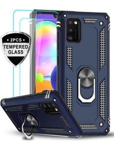 Ntech Samsung Galaxy A41 Ring Armor hoesje + 2x Screenprotector - Blauw