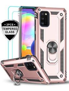 Ntech Samsung Galaxy A41 Ring Armor hoesje + 2x Screenprotector - Rosegoud
