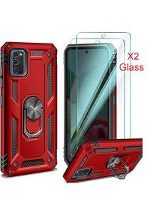 Ntech Samsung Galaxy A41 Ring Armor hoesje + 2x Screenprotector - Rood