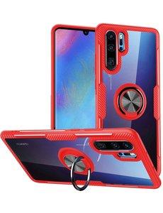 Ntech Huawei P30 Pro Luxe Hoesje Back case Met Metalen Ring houder - Rood