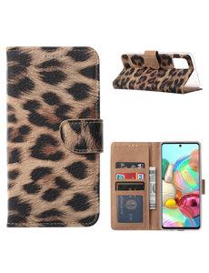 Ntech Samsung Galaxy A71 Portemonnee / Boek Hoesje - Luipaard