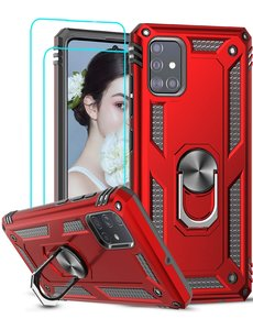 Ntech Samsung Galaxy A51 Armor Ring hoesje & 2x Glazen tempered - Rood