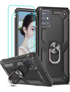 Ntech Samsung Galaxy A51 Armor Ring hoesje & 2x Glazen tempered - Zwart