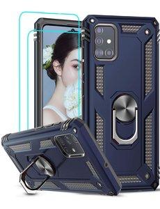 Ntech Samsung Galaxy A51 Armor Ring hoesje & 2x Glazen tempered - Donker Blauw