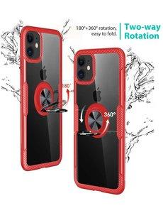 Ntech Apple iPhone 11 Luxe Back Hoesje Metalen Ring houder - Rood