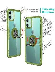 Ntech Apple iPhone 11 Luxe Back Hoesje Metalen Ring houder - Groen