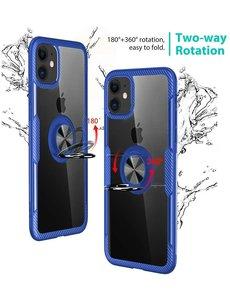Ntech Apple iPhone 11 Luxe Back Hoesje Metalen Ring houder - Donker Blauw