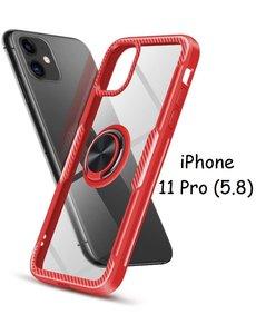Ntech Apple iPhone 11 Pro Luxe Back Hoesje Metalen Ring houder - Rood