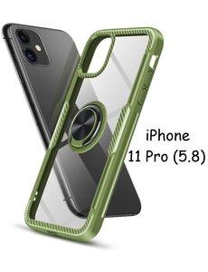 Ntech Apple iPhone 11 Pro Luxe Back Hoesje Metalen Ring houder - Groen