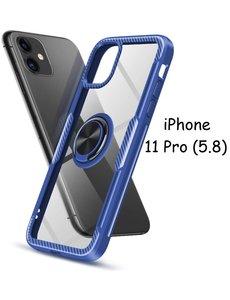 Ntech Apple iPhone 11 Pro Luxe Back Hoesje Metalen Ring houder - Donker Blauw