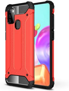 Ntech Samsung Galaxy A21S Rugged Hybride Armor Hoesje - Rood
