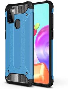 Ntech Samsung Galaxy A21S Rugged Hybride Armor Hoesje - Licht Blauw