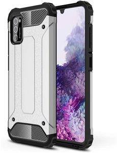 Ntech Samsung Galaxy A41 Hybride Armor Hoesje - Zilver