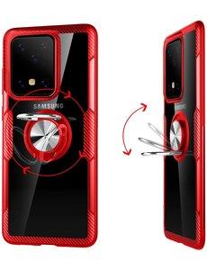 Ntech Samsung Galaxy S20 Luxe Back Hoesje & Metalen Ring houder - Rood