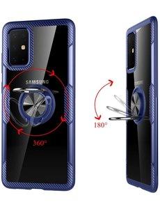Ntech Samsung Galaxy S20 Luxe Back Hoesje & Metalen Ring houder - Blauw