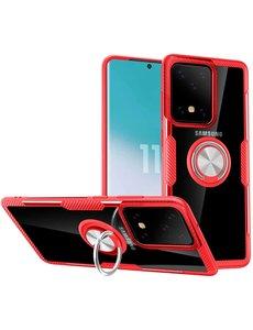 Ntech Samsung Galaxy S20 Plus Luxe Back Hoesje & Metalen Ring houder - Rood