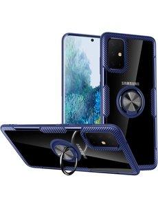 Ntech Samsung Galaxy S20 Plus Luxe Back Hoesje & Metalen Ring houder - Blauw