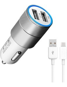 Durata Durata DR-DC858 Zilver 2 USB Poorten USB autolader 2.1A Snel Oplader Auto adapter met 1 Type C USB Kabel Voor Samsung / Sony / Huawei / Motorola / Oppo / OnePlus / HTC / Xiaomi / Alcatel