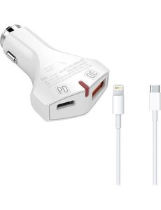 Durata Durata DR-C16 QC 3.0+PD Autolader Snellader + USB-C naar Lightning kabel - Power Delivery oplader - voor iPhone 11 / Pro / Max / X / Xs/ XR / MAX / 8 / 8 Plus / SE / 2020 / 5S / 5 / 5C / 6S / 6 Plus / 7 / 7 Plus / iPad