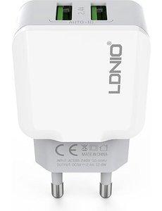 Ldnio Oplaad Stekker met 2 USB Poorten - 2.4A
