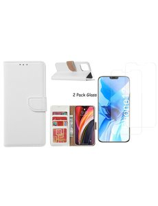 Ntech iPhone 12 Pro Max hoesje - portemonnee bookcase / wallet cover Wit + 2x tempered glass / Screenprotector