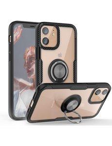 Ntech Apple iPhone 12 Pro Max (6.7) Luxe hoesje Backcover case - metalen Ring houder - Zwart