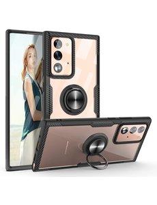 Ntech Samsung Galaxy Note 20 Luxe hoesje Backcover case - Metalen Ring houder - Zwart