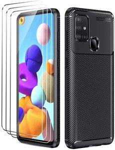 Ntech Samsung Galaxy A21s Hoesje Geborsteld TPU case / Brushed backcover Zwart - 3x Screenprotector