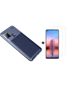 Ntech Samsung Galaxy A21s Hoesje Geborsteld TPU case / Brushed backcover Blauw - 2x Screenprotector