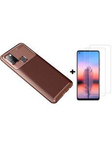 Ntech Samsung Galaxy A21s Hoesje Geborsteld TPU case / Brushed backcover Coffee Bruin - 2x Screenprotector