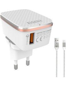 Eisenz Eisenz A1204Q Quick Charge Series - Snellader Adapter / Stekker - lader - Oplader Met Snel Opladen Functie - 18W Vermogen - Qualcomm 3.0 met iPhone Lightning kabel