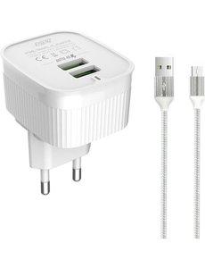 Eisenz Eisenz A201 oplader met Micro naar USB Kabel - Microusb - lader - adapter - 1M - 2.4A - Wit