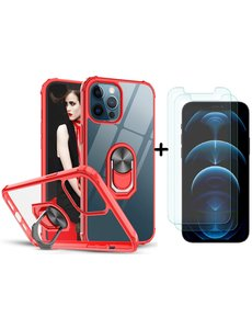Ntech iPhone 12 / 12 Pro Hoesje met Premium ring houder - iPhone 12 kickstand armor backcover Rood + 2X screenprotector