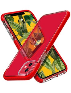 Ntech iPhone 12 Pro Max Hoesje  Transparant Anti Shock - backcover met Bumper Rood