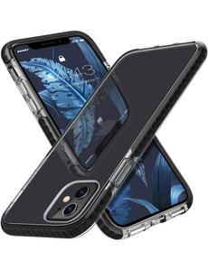 Ntech iPhone 12 Pro Max Hoesje  Transparant Anti Shock - backcover met Bumper Zwart