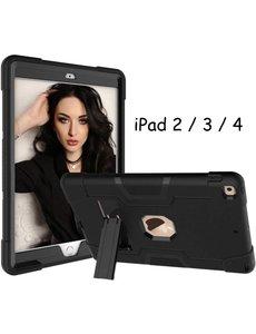 Ntech Apple iPad 2 / 3 / 4 hoesje met Kickstand Armor hoes - Zwart