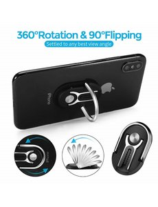 Ntech 3 In 1 Ring Houder / Universal 360 Degree Rotation Auto Air Vent Mount voor iPhone 12 / 12 Pro / 12 Mini / 12 Pro Max / Samsung / Huawei - Zwart