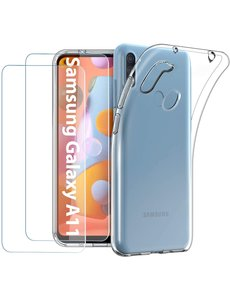 Ntech Samsung Galaxy A11 / M11 hoesje - Samsung Galaxy A11 / M11 casesiliconen transparant - hoesje A11 / M11 - Samsung Galaxy A11 / M11 hoesjes cover hoes - 2x Samsung Galaxy A11 / M11 Screenprotector Tempered Glass