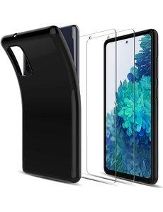 Ntech Samsung Galaxy S20 FE 4G/5G Zwart hoesje back TPU siliconen case - S20 FE 2 Pack Tempered Glass Screenprotector