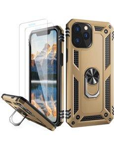 Ntech iPhone 12 Pro Max hoesje - Hardcase - Tough armor ring Goud + 2 stuks screenprotector
