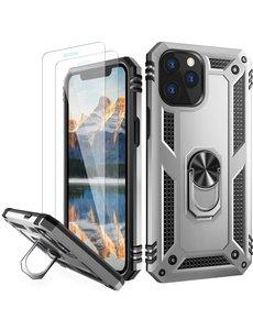 Ntech iPhone 12 Pro Max hoesje - Hardcase - Tough armor ring Zliver + 2 stuks screenprotector