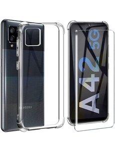 Ntech Samsung Galaxy A42 Hoesje Schokbestendig Transparant - Shockproof siliconen Case met Samsung Galaxy A42 Screenprotector 2 pack tempered glass