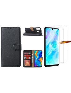 Ntech Huawei P30 Lite New Edition Hoesje / P30 Lite portemonnee hoesje Zwart / book case met 2 pack screenprotector